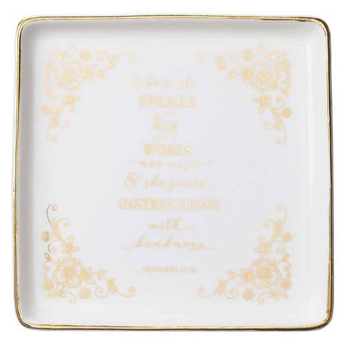 When She Speaks Ceramic Trinket Tray - Proverbs 31:26