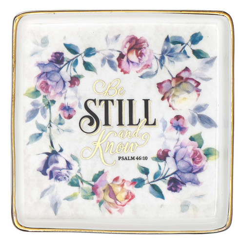 Be Still and Know Ceramic Trinket Tray in Purple - Psalm 46:10