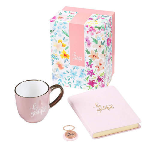 Be Grateful Journal, Mug and Keyring Boxed Gift Set for Women