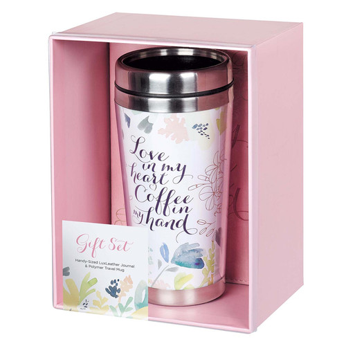 Love in My Heart Travel Mug and Journal Boxed Gift Set for Women