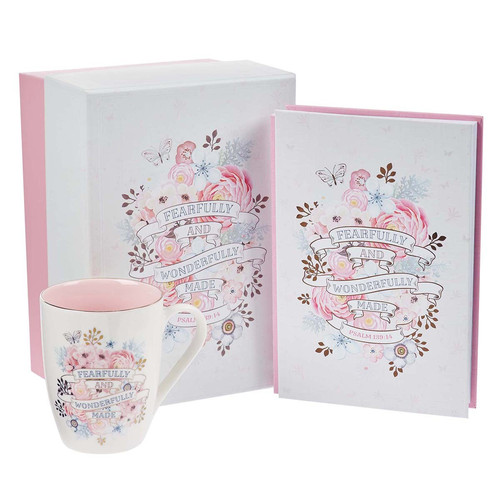 Fearfully and Wonderfully Made Journal and Mug Boxed Gift Set For Women - Psalm 139:14