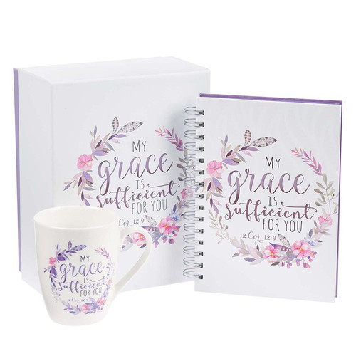 My Grace is Sufficient For You Journal and Mug Boxed Gift Set For Women - 2 Corinthians 12:9