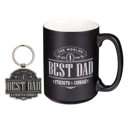 The World's Best Dad Ceramic Mug and Keyring Gift Set for Men - Joshua 1:9