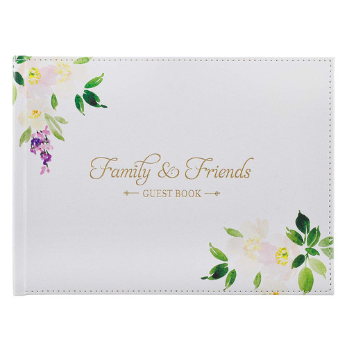 Family & Friends White Faux Leather Medium Guest Book