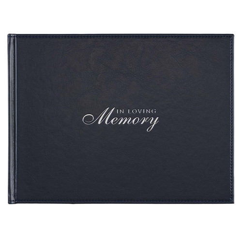 In Loving Memory Navy Faux Leather Medium Guest Book
