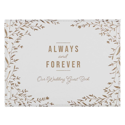 Always and Forever Medium White and Gold Faux Leather Wedding Guest Book