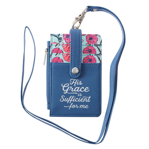 His Grace is Sufficient Faux Leather ID Card Holder