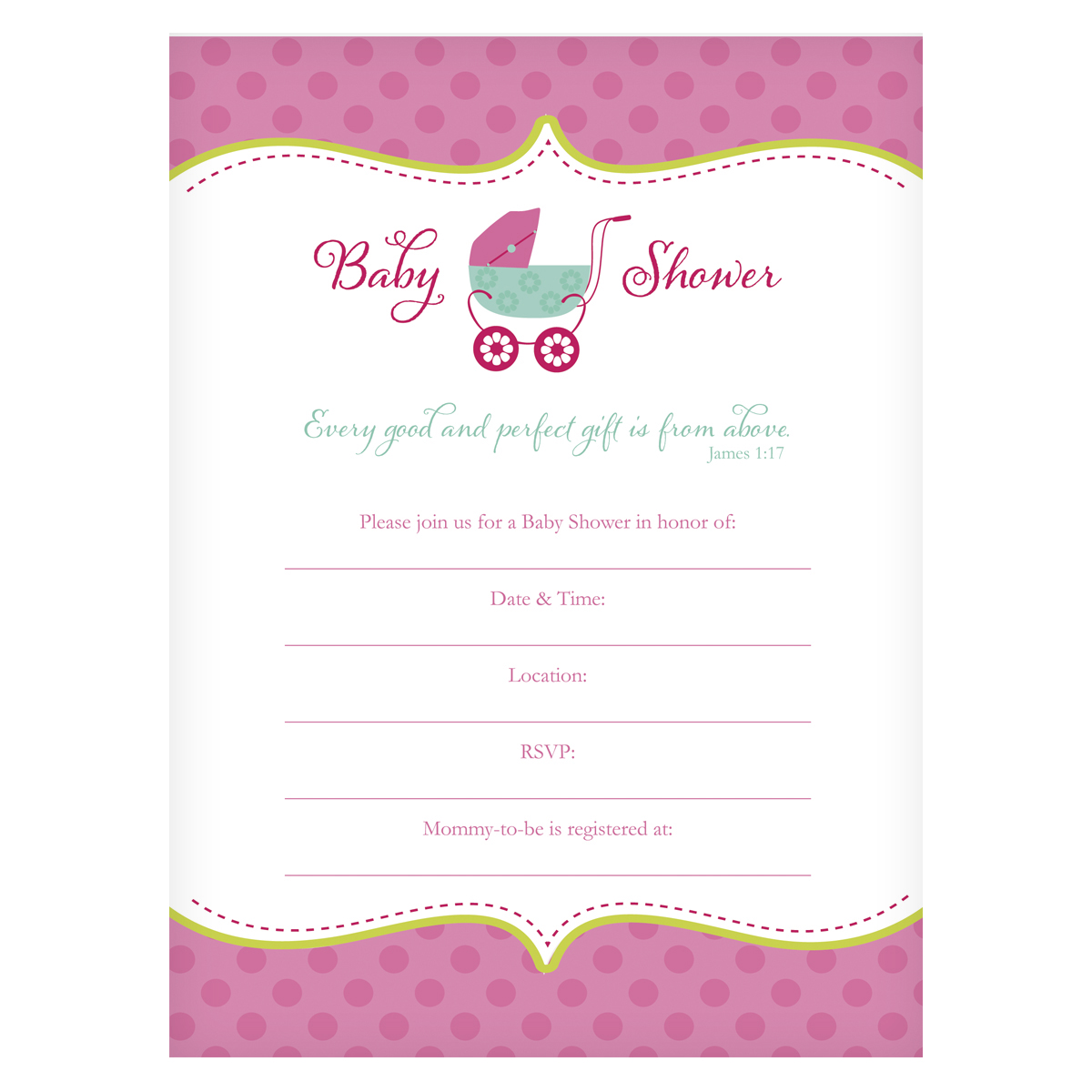 INV001_1 front?resizeid=5&resizeh=1200&resizew=1200 baby shower invitation girl james 1 17 christian art gifts,Religious Baby Shower Invitations