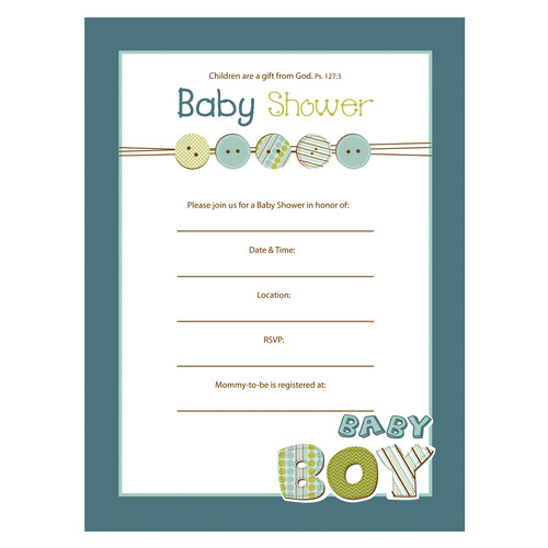 Baby Shower Invitation - Boy Ps 127:3