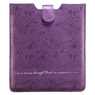 Purple Inspirational Tablet Case / Sleeve - Philippians 4:13