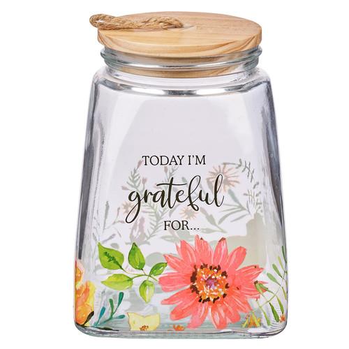 Today Im Grateful For Orange Daisy Glass Gratitude Jar with Cards