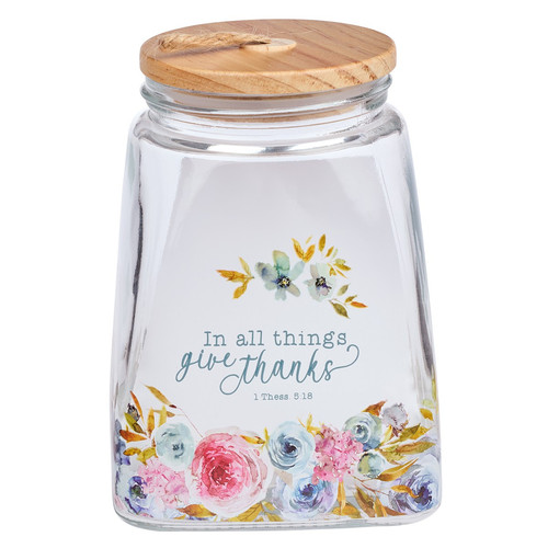Give Thanks Pink Ranunculus Glass Gratitude Jar with Cards - 1 Thessalonians 5:18