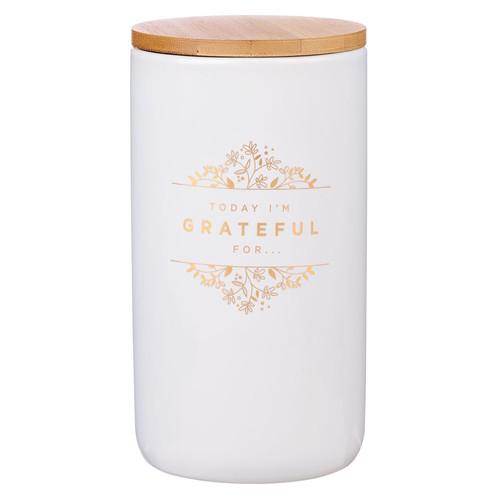Grateful Gold and White Ceramic Gratitude Jar with Cards