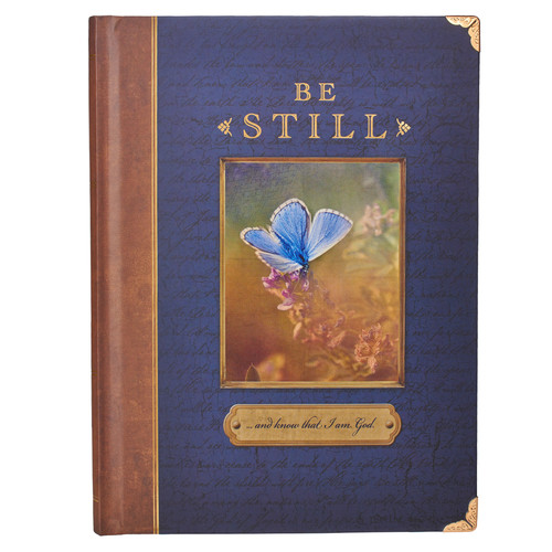 Be Still Hardcover Journal with Metal Corners - Ps 46:10
