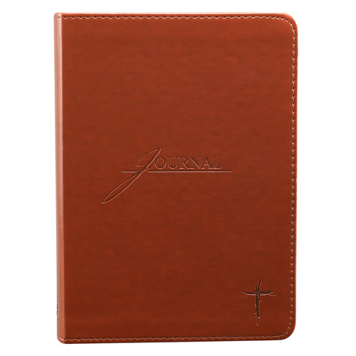 Saddle Tan Handy-sized LuxLeather Journal with Debossed Cross