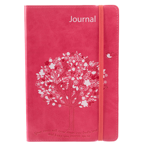 Flexcover LuxLeather Journal in Pink: Rooted In Love - Ephesians 3:17