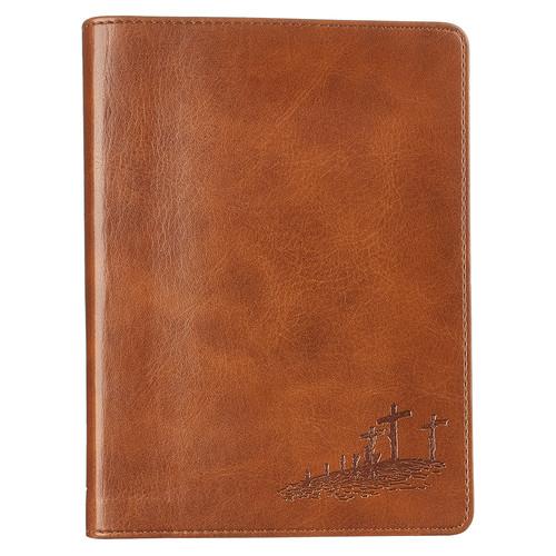 Classic LuxLeather Journal in Saddle Tan - John 3:16