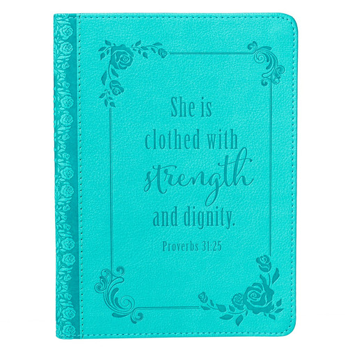 Strength and Dignity (Prov. 31:25) Turquoise Classic LuxLeather Journal