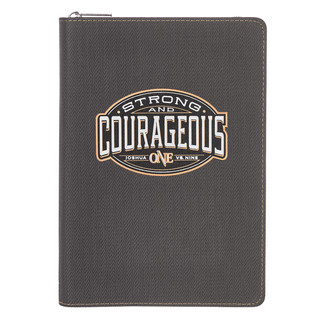Journal: Be Strong and Courageous with Zipper in LuxLeather - Joshua 1:9