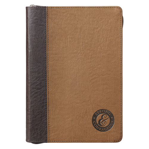 Strong and Courageous Zippered Classic LuxLeather Journal in Tan - Joshua 1:9