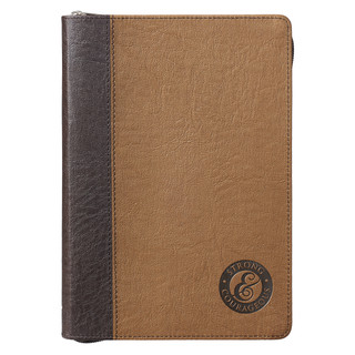 Strong and Courageous with Zipper in Tan LuxLeather - Joshua 1:9 Journal
