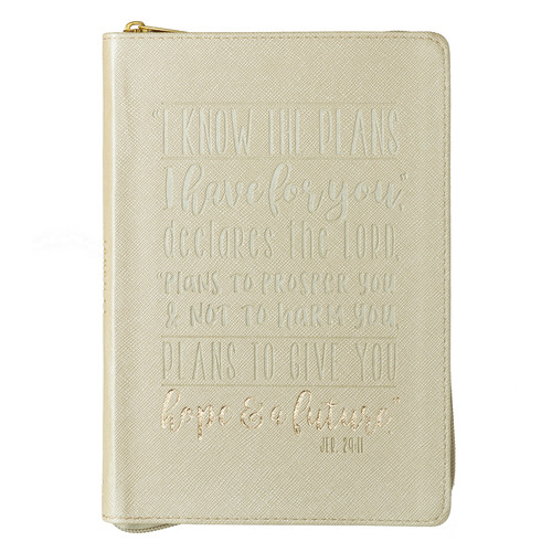 I Know the Plans in Cream - Jeremiah 29:11 Classic Luxleather Journal