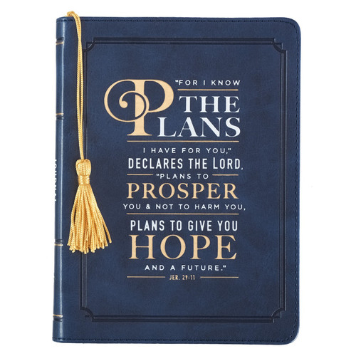 For I Know the Plans Handy-sized Faux Leather Journal in Navy - Jeremiah 29:11