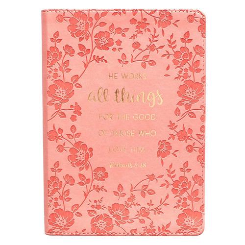 All Things Coral Faux Leather Slimline Journal - Romans 8:28