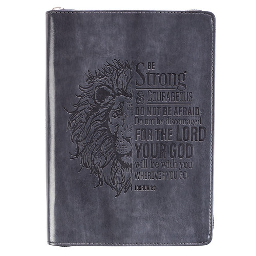 Lion Face Be Strong And Courageous Zippered Classic LuxLeather Journal - Joshua 1:9