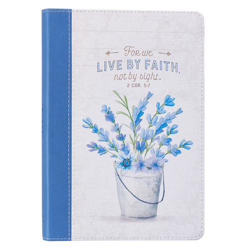 Live By Faith Slimline Faux Leather Journal - 2 Corinthians 5:7