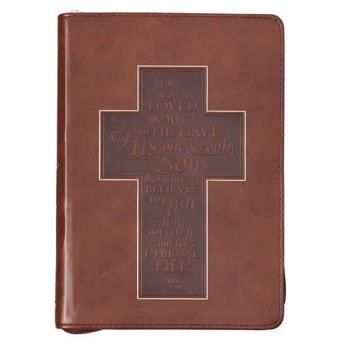 John 3:16 Cross Zippered Classic LuxLeather Journal