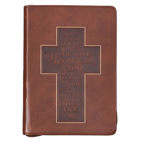 John 3:16 Cross Zippered Classic LuxLeather Journal