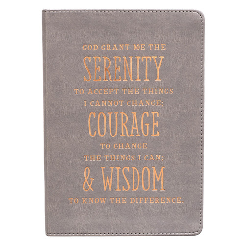 Serenity, Courage And Wisdom LuxLeather Journal in Gray
