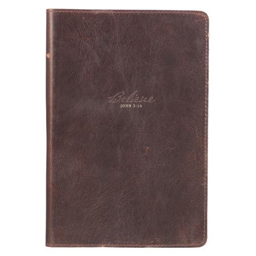 Believe Full Grain Leather Journal - John 3:16