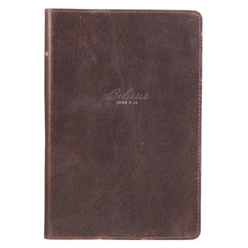 Believe Full Grain Leather Journal - John 3:16