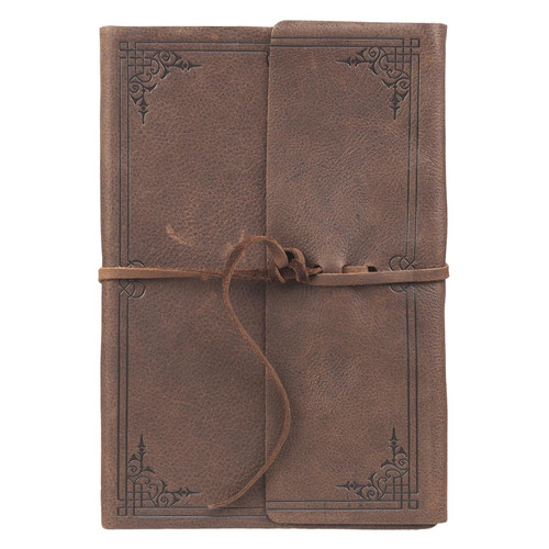Soft Full Grain Leather Journal with Tie-flaps in Dark Brown