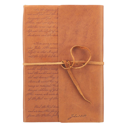 In the Beginning Classic Full Grain Leather Journal with Wrap Closure – John 1:1-14