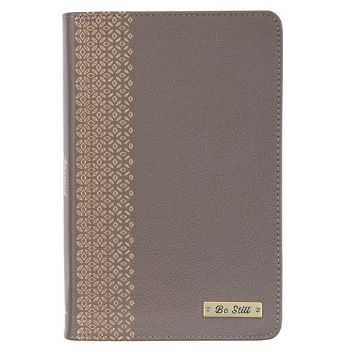 Be Still Taupe Full Grain Leather Journal - Psalm 46:10