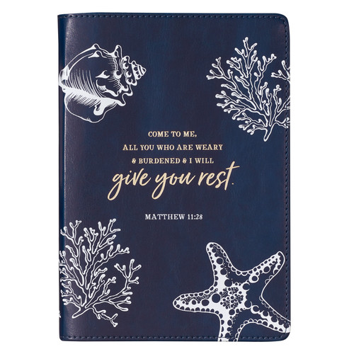 Navy Give You Rest Slimline LuxLeather Journal - Matthew 11:28