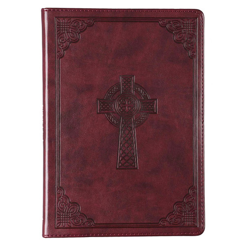 Brown Slimline Faux Leather Journal with Cross