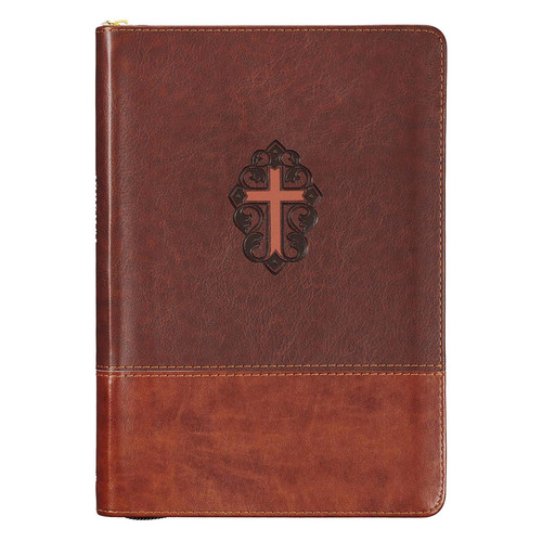 John 3:16 Collection Zippered Two-Tone Brown Faux Leather Classic Journal With Cross