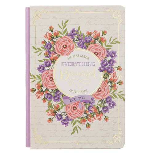 Beautiful In Its Time Quarte-Bound Hardcover Journal in White - Ecclesiastes 3:11