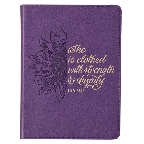 Strength & Dignity Purple Sunflower Faux Leather Handy-Sized Journal - Proverbs 31:25