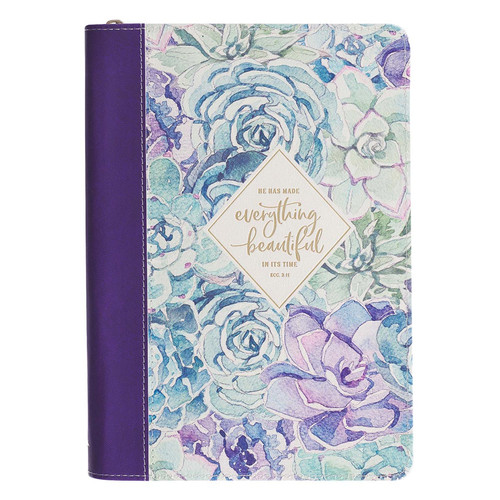 Everything Beautiful Purple Quarter-bound Faux Leather Classic Journal with Zipped Closure - Ecclesiastes 3:11