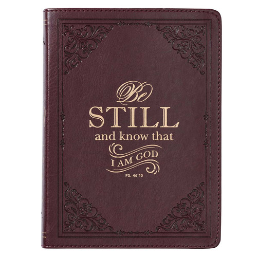 Be Still and Know Brown Handy-Sized Faux Leather Journal - Psalm 46:10