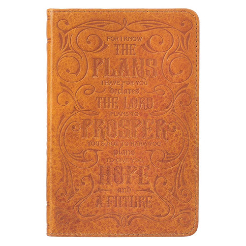 I Know the Plans Tan Handy-sized Full Grain Leather Journal - Jeremiah 29:11