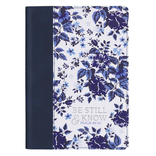 Be Still & Know Blue Floral Quarter-bound Faux Leather Classic Journal - Psalm 46:10