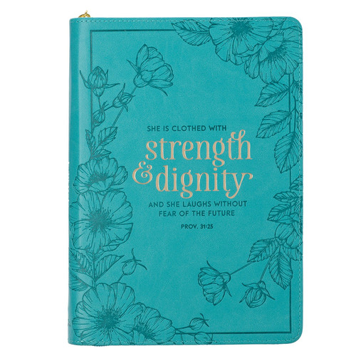 Strength & Dignity Teal Faux Leather Classic Journal with Zipped Closure - Proverbs 31:25