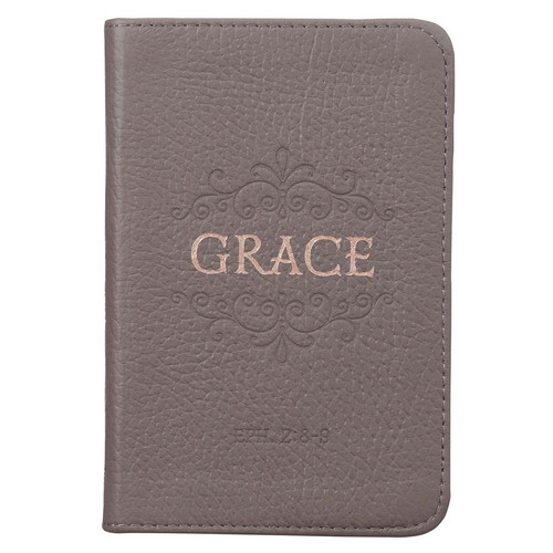 Grace Taupe Gray Pocket-sized Full Grain Leather Journal - Ephesians 2:8-9