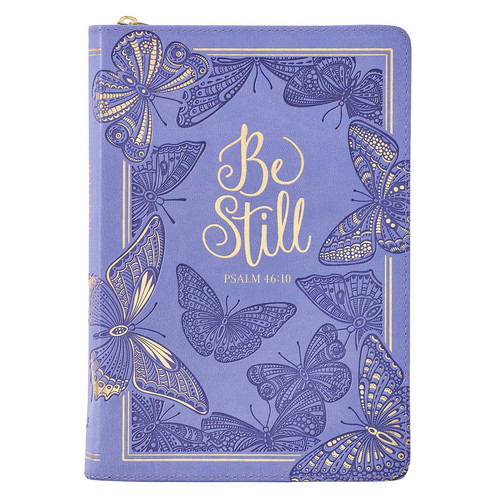 Be Still Purple Butterfly Faux Leather Classic Journal with Zipped Closure - Psalm 46:10